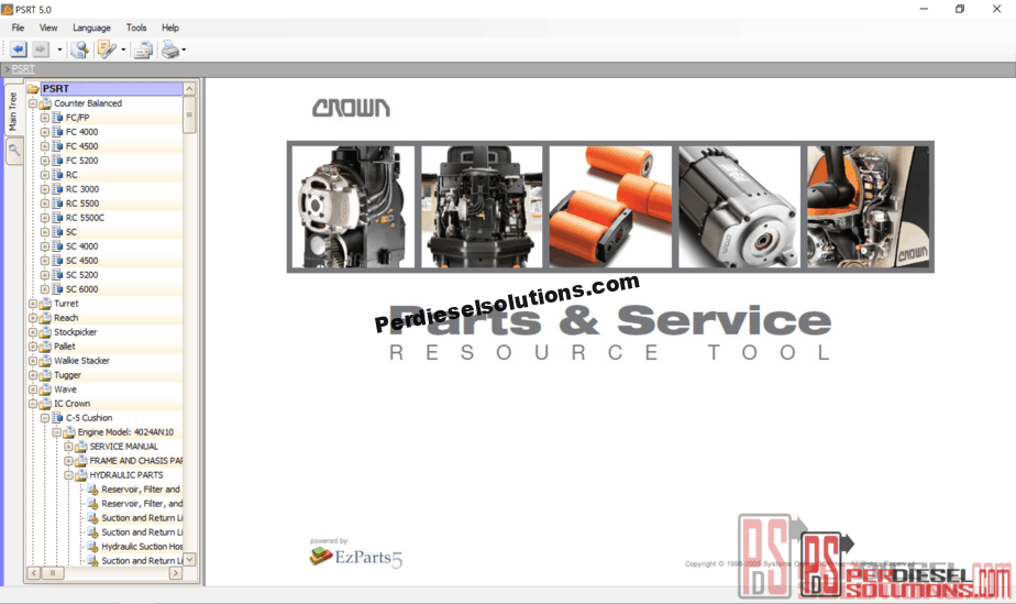 Crown Parts Catalog and Service Resource Tool 2019 PSRT