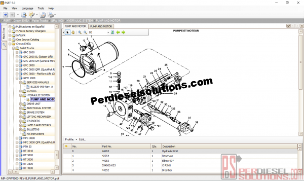 Parts catalog crown fork lift