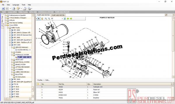 Parts catalog crown fork lift