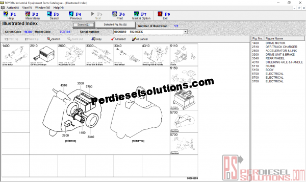 Toyota equipment parts catalogue