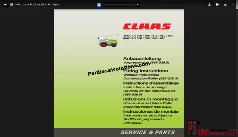 Claas Workshop Manual, Parts and Service Manual
