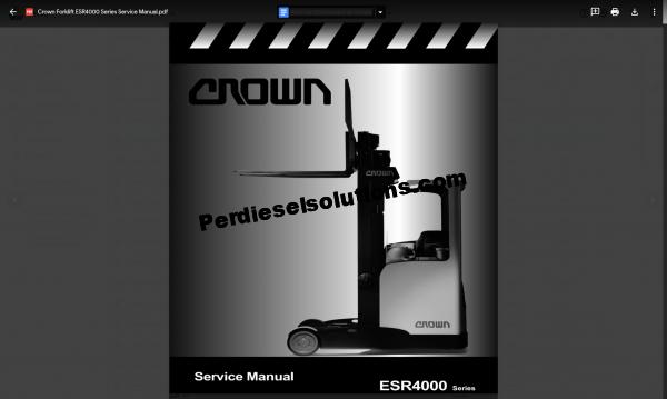 Crown Forklift truck Service manual