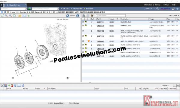 General Motor electronic parts catalog 2019