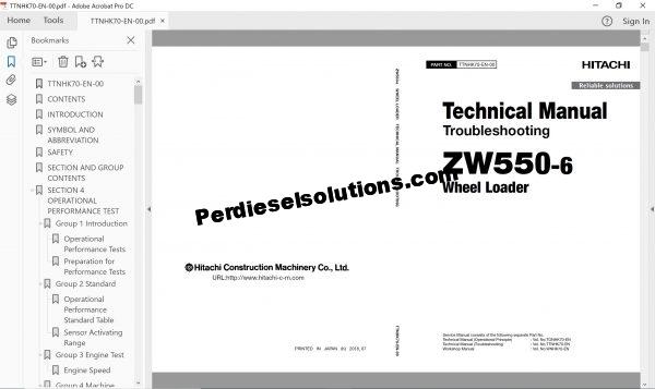 Hitachi Wheel Loader ZW-6 Series full Workshop Manual PDF