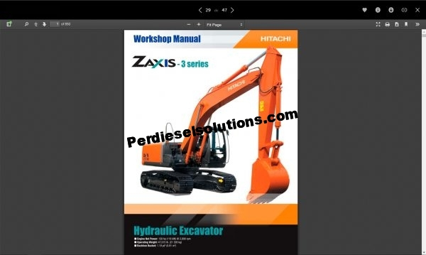 Hitachi Hydraulic Excavator ZX-3 Series full Workshop Manual PDF