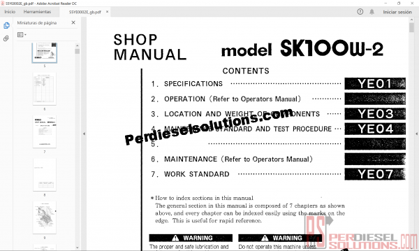 Shop manual kobelco 2018