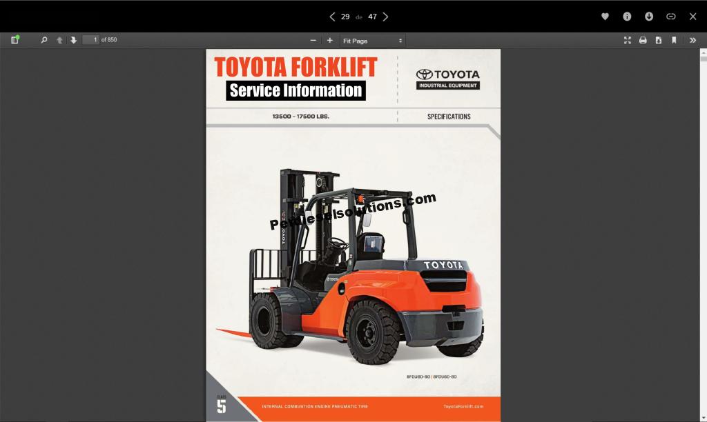 Toyota Forklift Truck Full Service Information  Parts  Repair  U0026 Diagrams Pdf