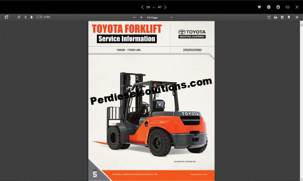 Toyota Forklift Truck Full Service Information, Parts, Repair & Diagrams