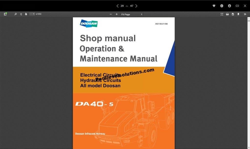 Doosan Shop Manual & Maintenance Manual Complete PDF - PerDieselSolutions