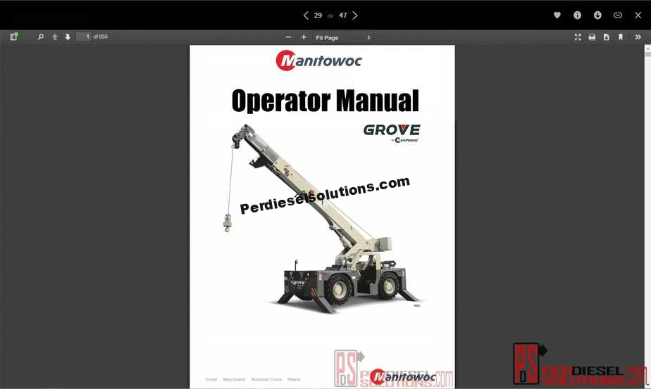 Manitowoc Grove Full Operator Manual PDF on