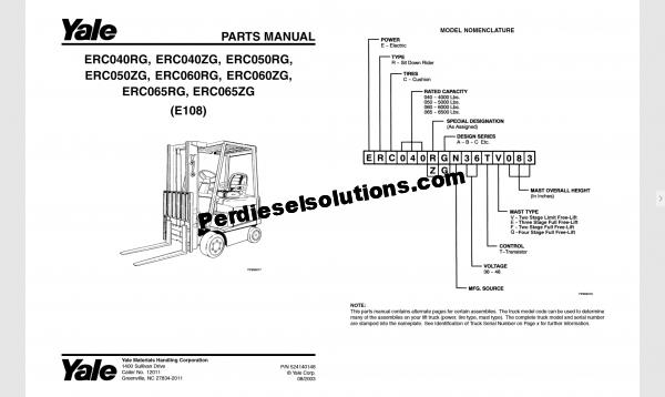 Yale forklift trucks complete set parts book