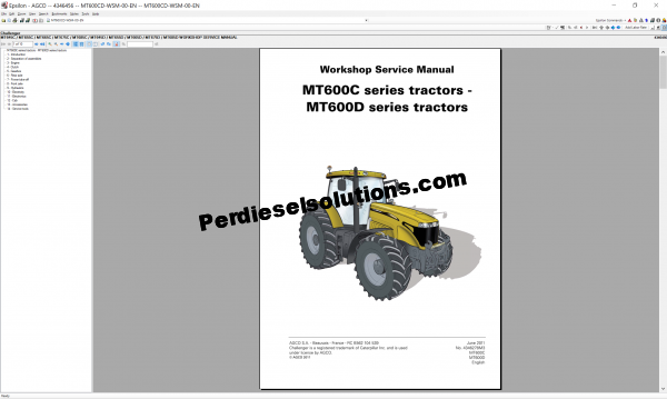 Agco Challenger 07.2019 Parts Book & Workshop Service Manual