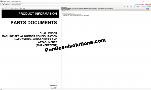 Agco Challenger Parts Document