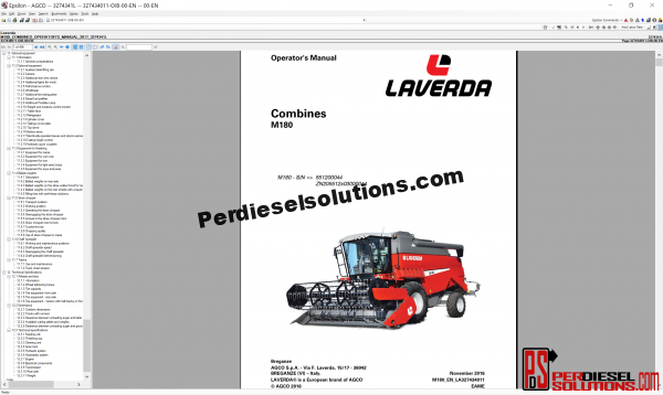 Agco Laverda parts books & workshop service manuals