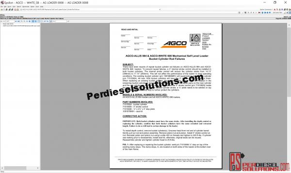 Agco White NA Parts Books & Service bulletins