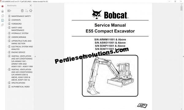 Bobcat Excavator Service Library 11.2017 Service Manual Full PDF