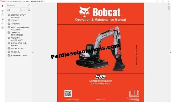 Bobcat Excavator Service Library 12.2017 Service Manual Full PDF