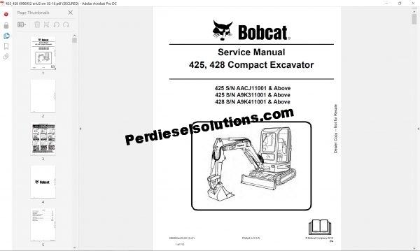 Bobcat Excavator service Library complete set