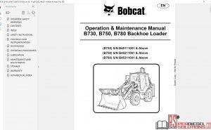 Bobcat Loader Backhoe Service Library 08.2017