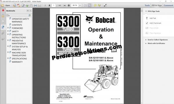 Bobcat Loader Service Library Complete set 2017