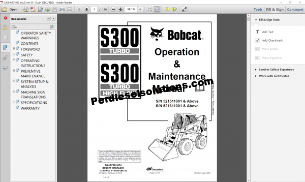 Bobcat Loader Service Library full pdf
