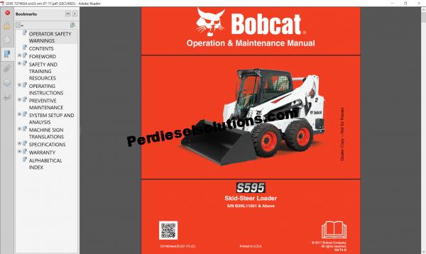 Bobcat Loader service Library 2017 Operation and Maintenace manual
