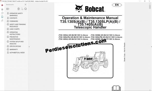Bobcat TelescopicHandler Service Library 12.2017 Service manual pdf