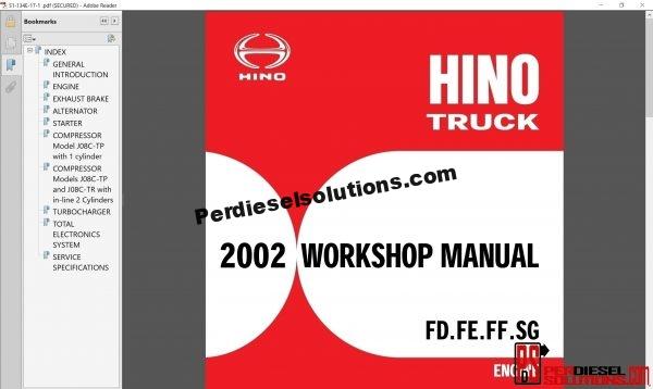 Hino Trucks workshop manuals 2002