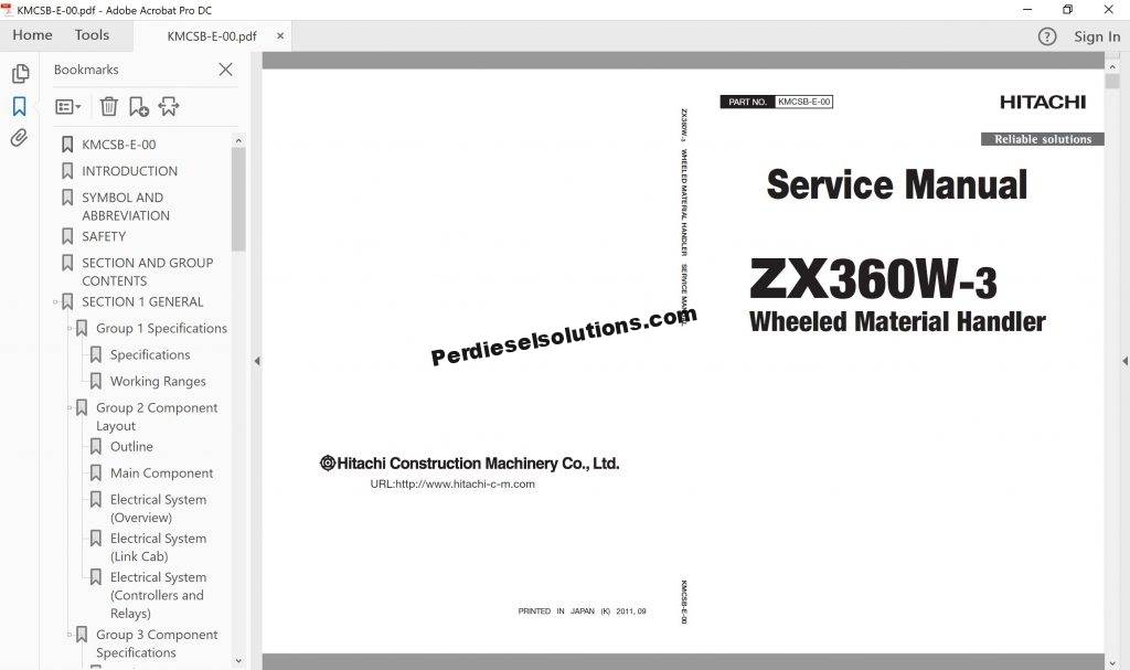 Hitachi Wheeled Excavator ZX-3 Series Service Manual PDF