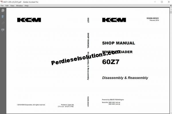 Kawasaki Wheel Loader 2020 Service & Parts Manual PDF