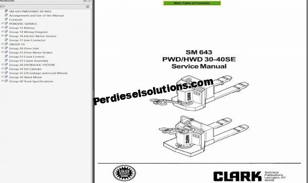 Clark Forklift Service Manual, Schematic & Service